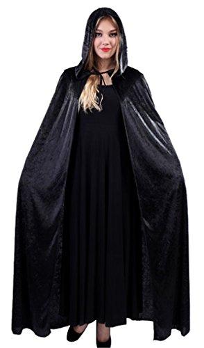 Feelme Womens Velvet Hooded Cloak Halloween Cosplay Wizard Full Length Party Cape (Black Velvet Capes For Womens)