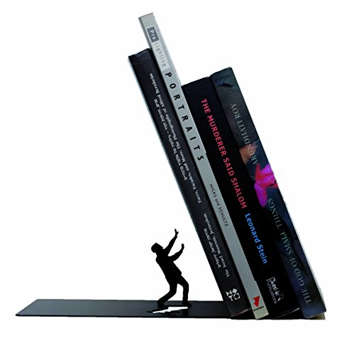 Falling Bookend Falling Books Black Metal Bookend