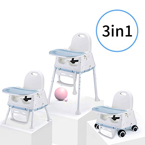 Best Baby Feeding Chairs For Toddlers LBLA 3-in-1 Baby Feeding Portable High Chair, Toddler Booster Seat with Tray (Blue)