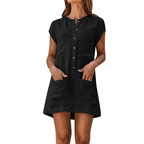 - Pengy Women Button Down Dress Summer Casual Solid Color Skirt with Pocket Lady Short Sleeve Mini Dress Black