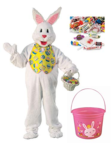BirthdayExpress Yellow Vest Easter Bunny Mascot Costume Kit with Easter Bucket and Candy - Plus