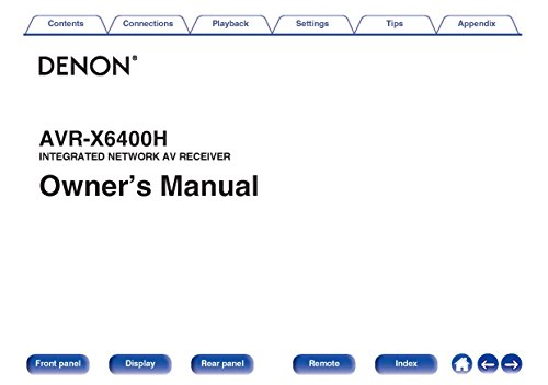 Printer Owners Manual (Denon AVR-X6400H Receiver Owners Instruction Manual)