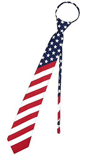 Vesuvio Napoli Mens Necktie AMERICAN FLAG Red White Blue PreTied Zipper Neck Tie