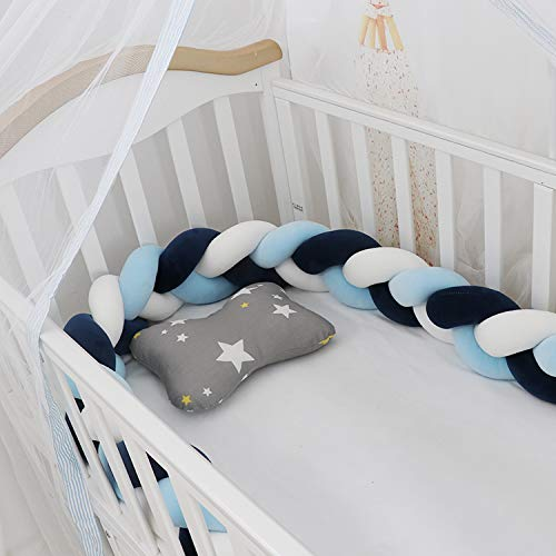 Lion Paw Crib Bumper Pillow Cushion 78.7in Crib Sides Protector Infant Cot Rails Newborn Gift Knotted Braided Plush Nursery Cradle Decor (White-Blue-Dark Blue 78.7in)
