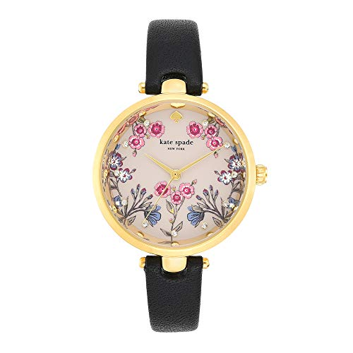 kate spade new york Women's Holland Stainless Steel Analog-Quartz Watch with Leather Strap, Black, 11.8 (Model: KSW1462)