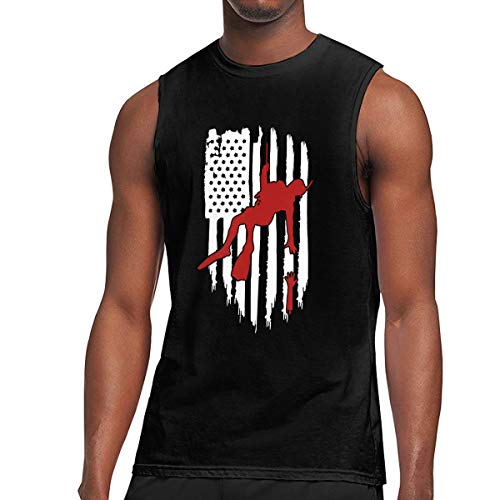 Helicopter Graphic - Helicopter Search and Rescue Swimmer Funny Sleeveless T Shirts for Men Novelty Graphic Muscle Tank Tops Tees Black XL
