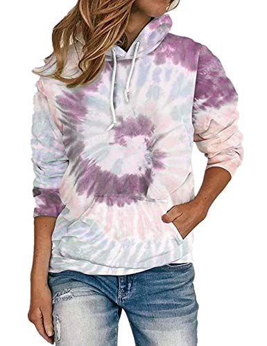 Women\'s Hoodies Pocket Pullover Tie Dye Drawstring Kangaroo Tunic Top Shirt Cute Sweatshirt