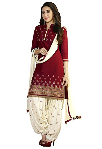 DivyaEmporio-Womens-Faux-Crepe-Maroon-Salwar-Suit-Dress-Material