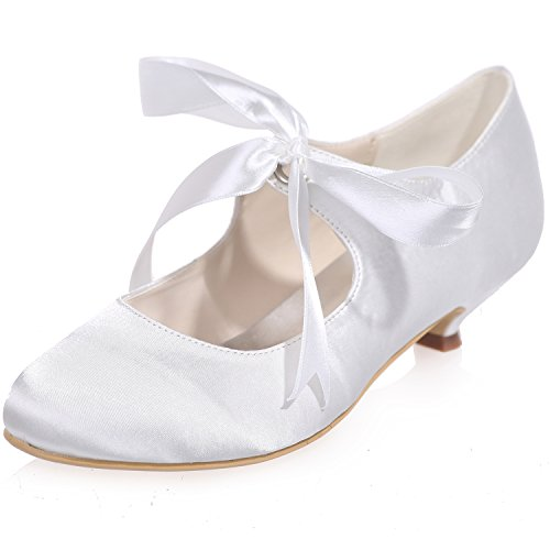 Clearbridal Women' Mary Jane Closed Toe Stiletto Heels Prom Satin Ribbon Tie Wedding Party Court Shoes ZXF9001-04 White BL1jCFsgp