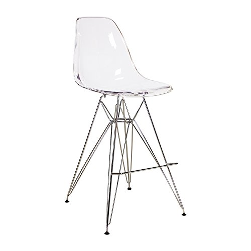 Price comparison product image PoliVaz PV-EAMS-MBC-CL Mid-Century Modern Barstool Clear