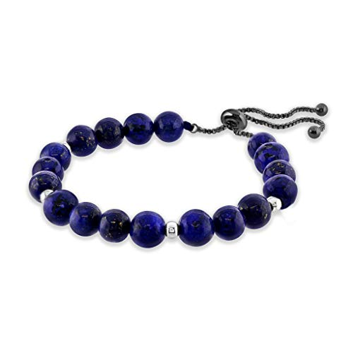 Believe London Lapis Lazuli Gemstone Bracelet Healing Bracelet Chakra Bracelet Anxiety Crystal Natural Stone Men Women Stress Relief Reiki Yoga Diffuser Semi Precious