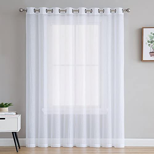 Warm Home Designs Extra Long, Extra Wide Patio Door Size 100 x 96 White Sheer See-Through Crushed Sliding Door Curtain. Sheer Window Drapes Allow Light In Provide Some Privacy. RI White Patio 96