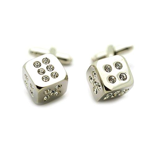 Dice Silver Cufflinks - Teri's Boutique Dice Silver Tone Bling Rhinestone Fashion Men Shirt Wedding Party Cufflinks w/ Gift Box