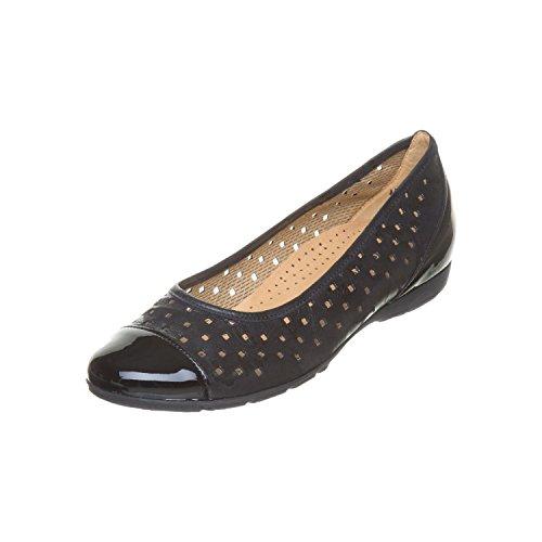 Pattern Ruffle Gabor Ballet Women's Black Flats wSPXX0qxA