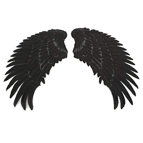 Black Sequin Wings Appliques Iron On Stickers Small Angel Wing Sew On Patches Embroidered Bling Wings for DIY Decoration Kids Dress,Bags(1 -
