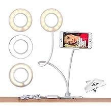 Ring light,MSLAN Cell Phone Holder with Selfie Ring Light for Live Stream, Flexible Mobile Phone Clip Holder Lazy Bracket Desk Lamp LED Light for Bedroom, Office, Kitchen, Bathroom (White)