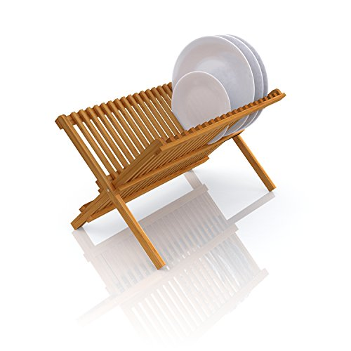 Deluxe Organic Bamboo Folding Dish Rack | 2-Tier Collapsible