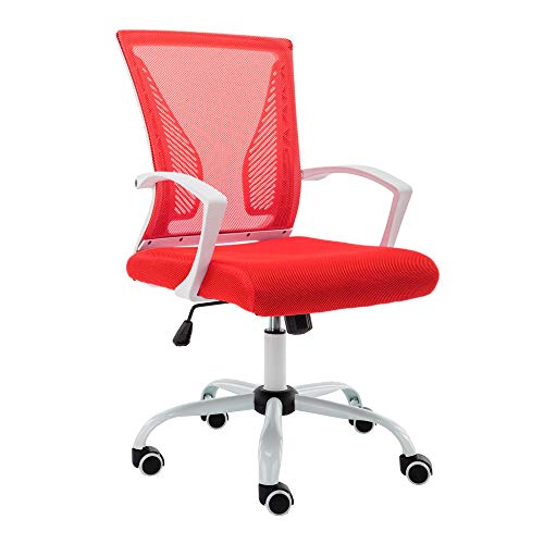 Modern Home WHRED Zuna Mid-Back Office Chair, White/Red