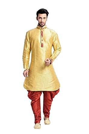 Da facioun chinese collar silk yellow mens indo western for Mens silk shirts amazon