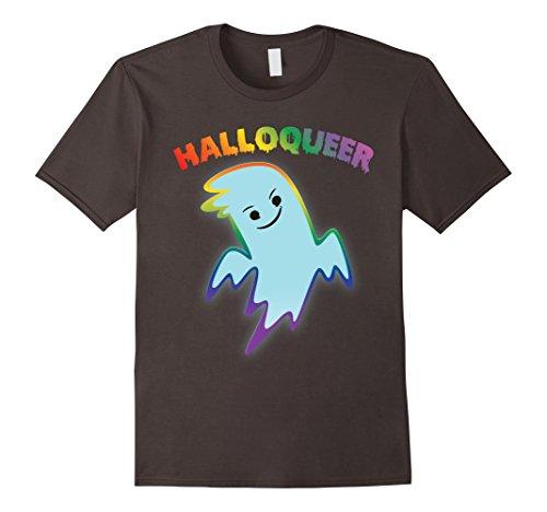 Mens Halloqueer Cute LGBT Pride Ghost Halloween Queer Shirt Medium (Lesbian Halloween Jokes)