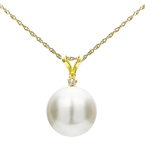 14k Yellow Gold 1/100cttw Diamond 9-9.5mm White Button Shape Freshwater Cultured Pearl Bunny Pendant