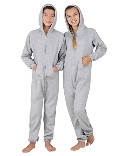 Footed Pajamas Family Matching University Gray Kids Footless Hoodie Onesie - Medium