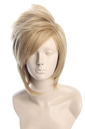 Topcosplay Unisex Anime Cosplay Wigs Short Blonde Layered Halloween Costume Wig]()