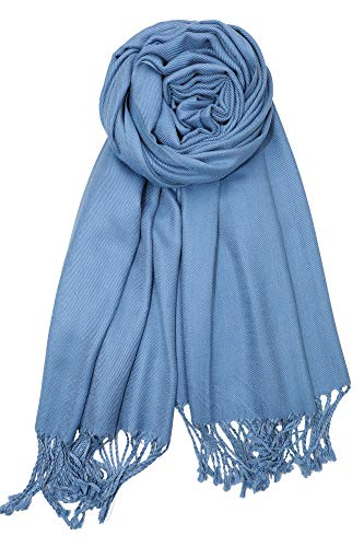 Achillea Soft Silky Solid Pashmina Shawl Wrap Scarf for Wedding Bridesmaid Dress (Blue)