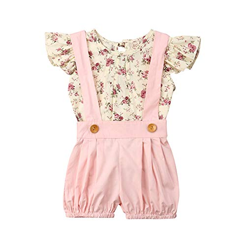 (Toddler Infant Baby Girl Floral Ruffled Sleeveless Top T Shirt+Suspenders Overall Shorts Outfit Summer Clothes Set (12-18 Months))