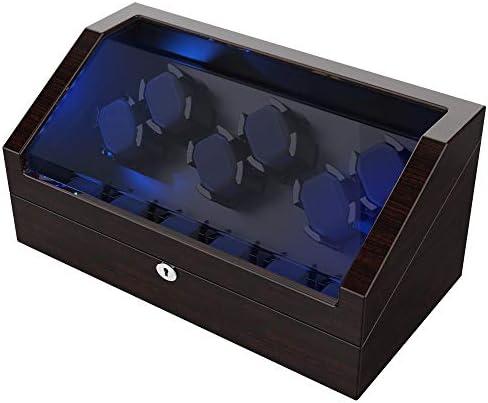 [スポンサー プロダクト]ワインディングマシーン 6本巻き+6本収納 自動巻き上げ機 LEDライト付き 静音設計