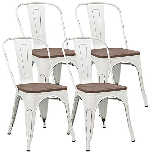 JUMMICO Metal Dining Chair Stackable Industrial Vintage Kitchen Chairs Indoor-Outdoor Bistro Cafe Side Chairs with Back and Wooden Seat Set of 4 (White) (Outdoor Metal White Set Dining)