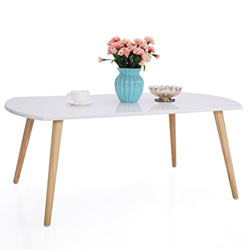 JAXPETY Three Legged Bamboo End Table • Modern Coffee Table • Real Bamboo Furniture • Environmentally Friendly Side Table for Magazines, Books & Plants (Rectangle) Bamboo Coffee Table