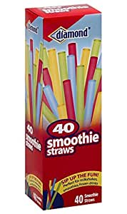Diamond 414-26-43042 40 Count Smoothie Straws, Assorted