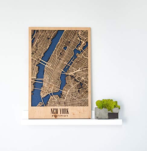 Wall Sticker Of New York City As A Home Interior Element Decor Idea Gift For Office Map Wooden Birthday Boss On