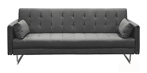 Hampton Convertible Tufted Sofa in Graphite