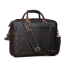 BAIGIO Men's Brown Leather 17 Inch Laptop Briefcase Messenger Tote Bag, Dark Brown