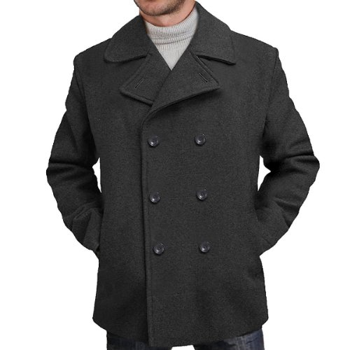 BGSD Men's 'Mark' Classic Wool Blend Pea Coat - M ()