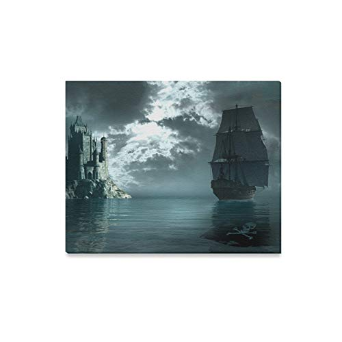 Wall Art Painting Pirate Ship Sailing Near A Gothic Castle Prints On Canvas The Picture Landscape Pictures Oil for Home Modern Decoration Print Decor for Living Room