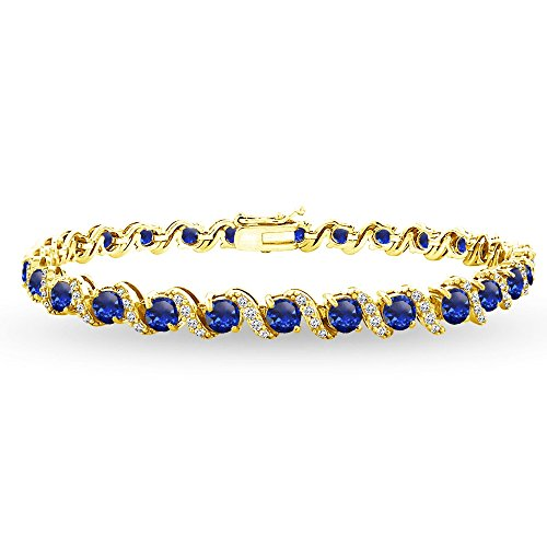 Yellow Gold Flashed Sterling Silver Created Blue Sapphire 4mm Round-Cut S Design Tennis Bracelet with White Topaz Accents by GemStar USA