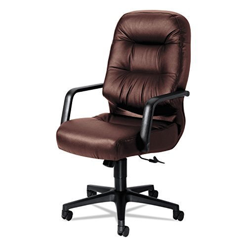HON 2091SR69T 2090 Pillow-Soft Series Executive Leather High-Back Swivel/Tilt Chair, Burgundy (Chair Tilt Fabric Burgundy)