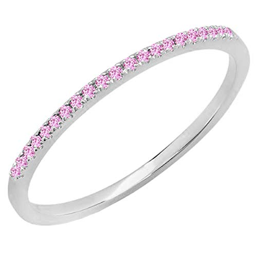 Dazzlingrock Collection 10K Round Pink Sapphire Ladies Anniversary Wedding Band Stackable Ring, White Gold, Size 7.5