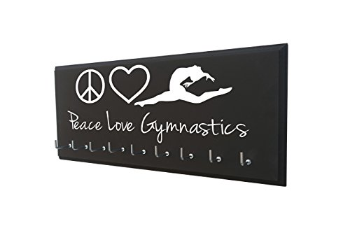 RunningontheWall Gymnastics Medal Display Rack, Gymnast Medal Hanger Peace. Love. Gymnastics. Gymnastics Award Hanger, Gymnast Ribbon Holder