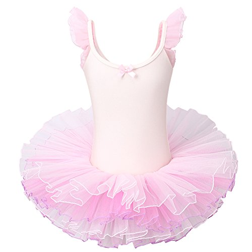 BAOHULU Ballet Leotard for Girls Tutu Skirted Ballerina Dance Costumes (4-5 Years(Tag No.L), Ballet (Child Pink Ballerina Costumes)