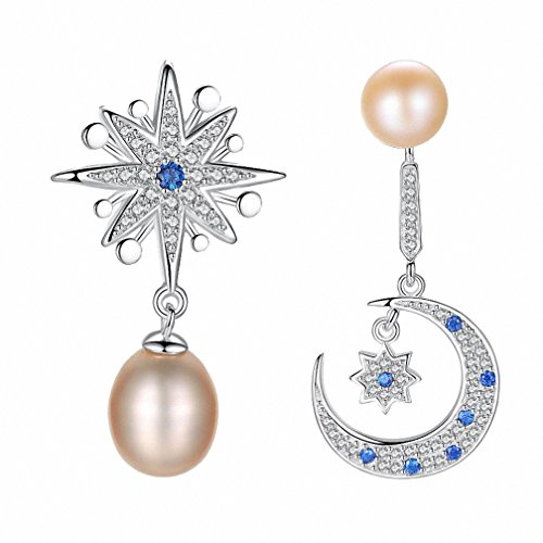 Price comparison product image Kalapure 925 Sterling Silver Freshwater Cultured Pink Pearl Drop Stud Earrings with Swarovski Crystal Cubic Zirconia - Romantic Special Attractive Sun Moon and Star Earring