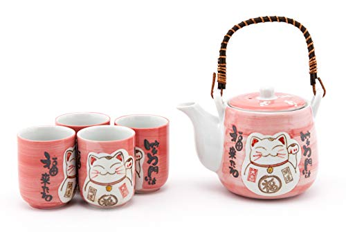 Hinomaru Collection Japanese Maneki Neko Lucky Cat Kitten Design Tea Set Ceramic Teapot with Strainer, Rattan Handle and 4 Tea Cups