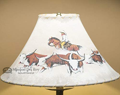 16 Handpainted Western Leather Lampshade – Cattle Drive PL27