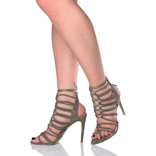 Ajvani - Sandalias de tacón alto y tiras para mujer khaki suede