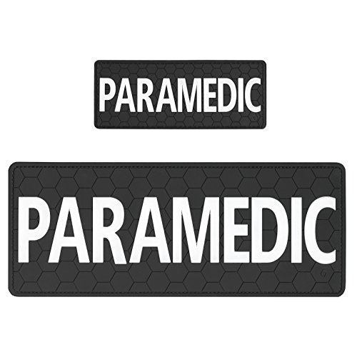 Set of 2 PVC Rubber Fastener Patches PARAMEDIC EMS EMT Plate Carrier Body Armor Medical