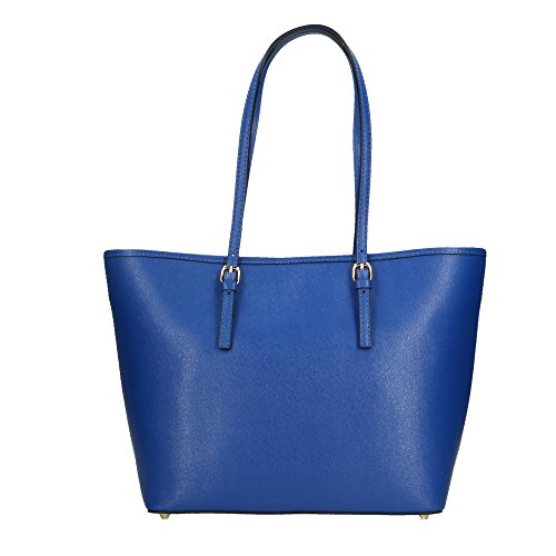 40x28x14 in italy a Donna Shoulder Made Borsa Pelle Elettrico Vera da Blu Aren in Bag Spalla Cm Pgq7O