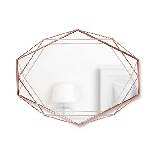 Umbra, Copper Prisma Modern Geometric Shaped Oval Mirror Wall Decor for Bedroom, - Mirrors Century Hexagon Modern Bathroom Mid